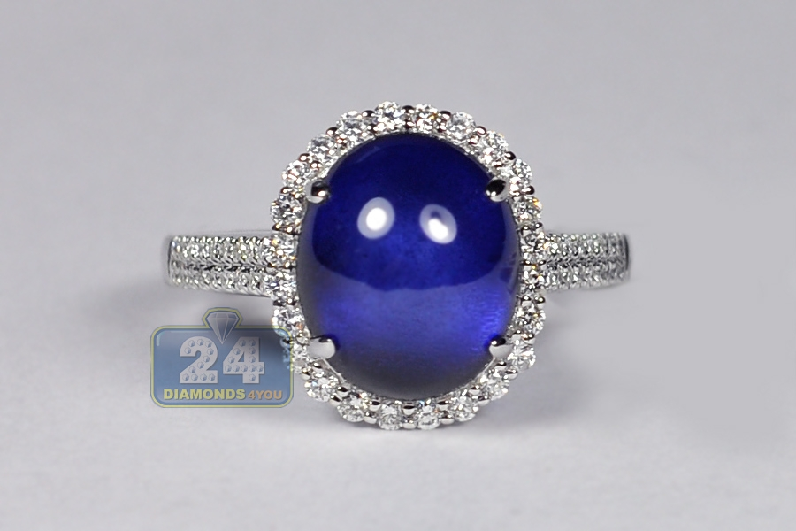 engagement rings gold sapphire cabochon ring ct womens diamond blue white