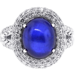 18K White Gold 9.95 ct Blue Sapphire Diamond Womens Ring