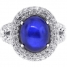 18K White Gold 9.95 ct Blue Sapphire Diamond Womens Halo Ring