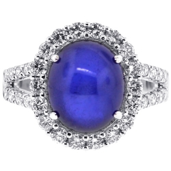18K White Gold 9.08 ct Cabochon Sapphire Diamond Halo Ring