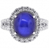 Womens Diamond Cabochon Sapphire Cocktail Ring 18K White Gold 9.08 ct