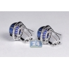 18K White Gold 17.71 ct Sapphire Diamond Womens Huggie Earrings