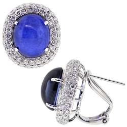 Womens Cabochon Sapphire Diamond Earrings 18K Gold 16.23 ct