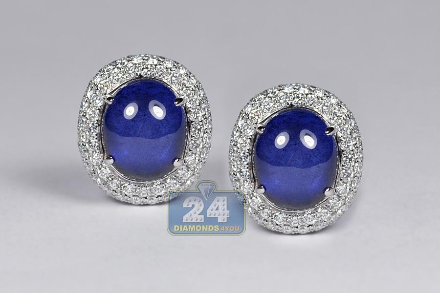 Womens Cabochon Sapphire Diamond Earrings 18k Gold 16 23 Ct