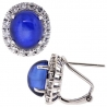 18K White Gold 10.23 ct Blue Sapphire Diamond Womens Earrings