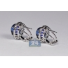 18K White Gold 10.23 ct Blue Sapphire Diamond Womens Earrings