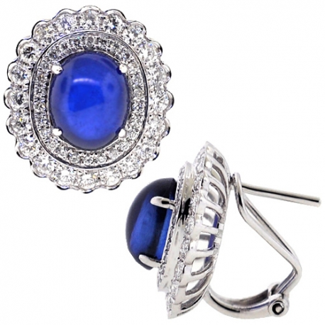 Womens Cabochon Sapphire Diamond Flower Earrings 18K White Gold