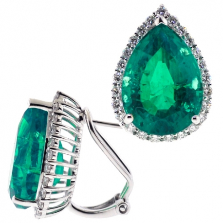 Womens Emerald Diamond Huggie Earrings 18K White Gold 15.36 ct