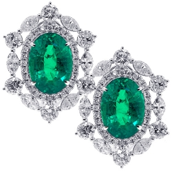 Womens Diamond Emerald Flower Earrings 18K White Gold 17.46 ct