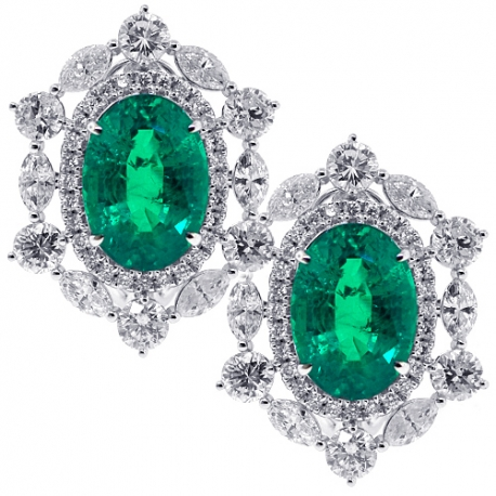 18 K White Gold 17.46 Ct Diamond Emerald Womens Flower Earrings by 24diamonds