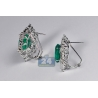Womens Diamond Emerald Flower Earrings 18K White Gold 17.46 ct