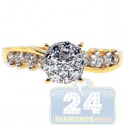 14K Yellow Gold 0.72 ct Round Cut Diamond Engagement Ring