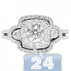 14K White Gold 1.36 ct Diamond Illusion Engagement Ring