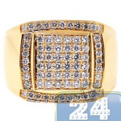 14K Yellow Gold 1.38 ct Round Cut Diamond Mens Square Ring