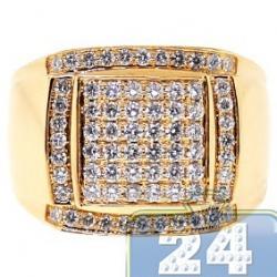 14K Yellow Gold 1.38 ct Round Cut Diamond Mens Square Ring
