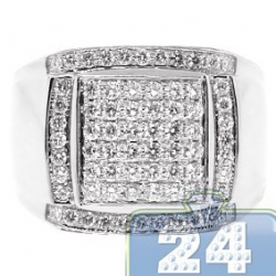 14K White Gold 1.38 ct Round Cut Diamond Mens Square Ring