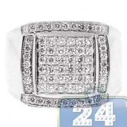 14K White Gold 1.38 ct Round Cut Diamond Mens Square Ring