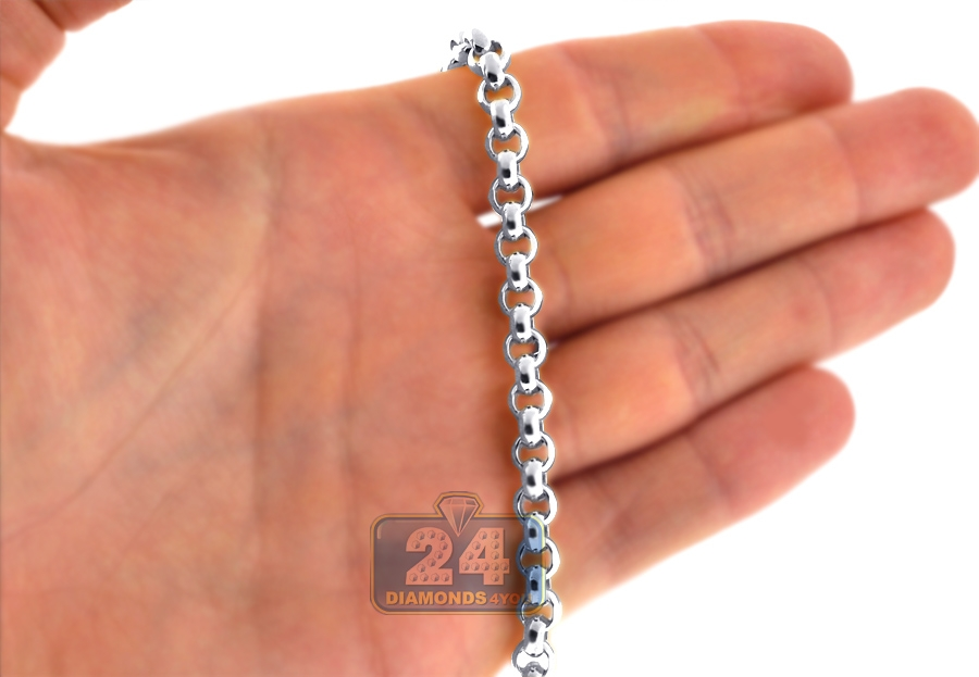 Mens 10k White Gold Puff Round Cable Chain 7 Mm 24 26 28