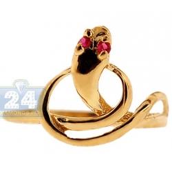 10K Yellow Gold Womens Crystal Snake Animal Ring