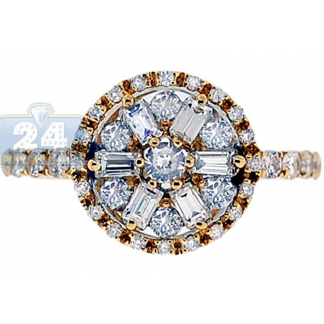 14K Yellow Gold 1.01 ct Mixed Diamond Flower Engagement Ring