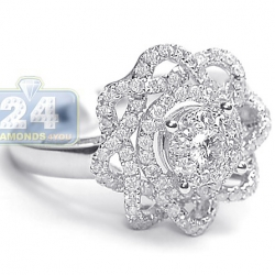 14K White Gold 1.14 ct Diamond Engagement Rose Flower Ring