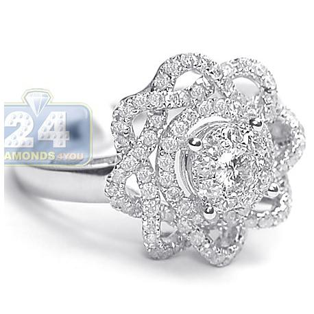 14K White Gold 1.14 ct Diamond Engagement Rose Flower Ring