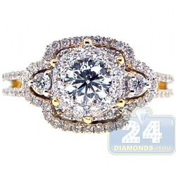 14K Yellow Gold 1.43 ct Round Cut Diamond Engagement Ring