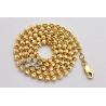 Mens 10K Yellow Gold Moon Cut Ball Chain 4 mm 24 28 30 34 36""