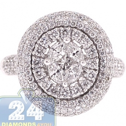 18K White Gold 1.62 ct Diamond Cluster Womens Engagement Ring