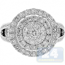 14K White Gold 2.22 ct Diamond Round Cluster Engagement Ring