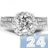 18K White Gold 2.55 ct Diamond Halo Womens Engagement Ring