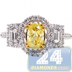 GIA 18K White Gold 1.80ct Fancy Intense Yellow Diamond Engagement Ring