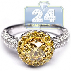 GIA 18K Gold 2.28 ct Fancy Intense Yellow Diamond Engagement Ring
