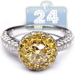GIA 18K Gold 2.28 ct Fancy Intense Yellow Diamond Engagement Ring