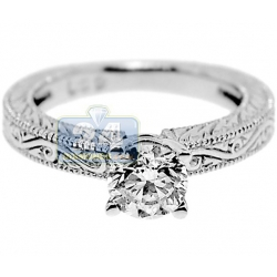 GIA 14K White Gold 1.00 ct Diamond Solitaire Filigree Engagement Ring