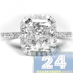 18K White Gold 3.68 ct Radiant Cut Diamond Womens Engagement Ring