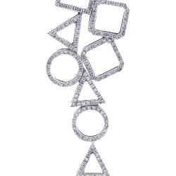 14K White Gold 1.10 ct Diamond Geometric Pendant Necklace