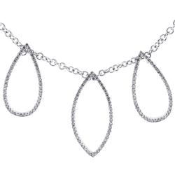 14K White Gold 2.18 ct Diamond Leaf Womens Necklace