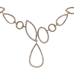 14K Two Tone Gold 3.12 ct Diamond Womens Floral Necklace