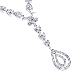Womens Diamond Leaf Y Shape Drop Necklace 14K White Gold 16""