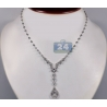 14K White Gold 1.33 ct Diamond Womens Y Shape Necklace 17 Inch