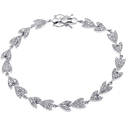 Womens Diamond Flower Bracelet 14K White Gold 1.41 ct 6mm 7""