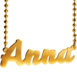 Custom 14K Yellow Gold Personalized Nameplate Necklace Chain