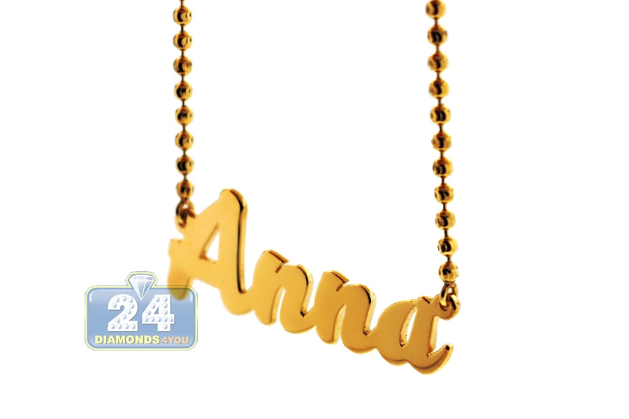 09a344bffad105 Custom 14K Yellow Gold Personalized Nameplate Necklace Chain
