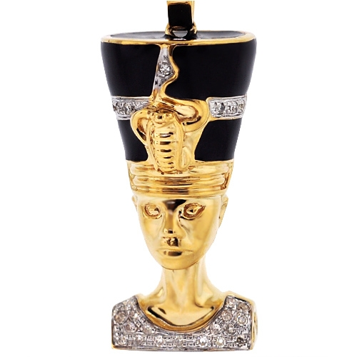 Mens diamond nefertiti pharaoh pendant 10k yellow gold 020ct mozeypictures Images