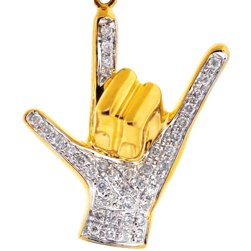14k Yellow Gold I Love You Heart Hand Sign Charm Pendant Necklace