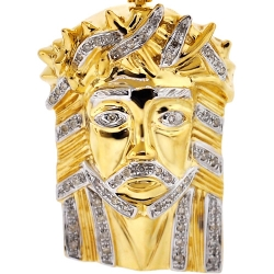 Mens Diamond Jesus Christ Head Pendant 10K Yellow Gold 0.29ct