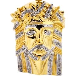 10K Yellow Gold 0.29 ct Diamond Jesus Christ Head Pendant
