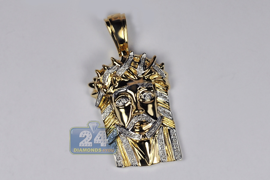 Mens diamond jesus christ head pendant 10k yellow gold 029ct aloadofball Choice Image