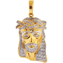 Mens Diamond Jesus Christ Face Pendant 10K Yellow Gold 0.66ct
